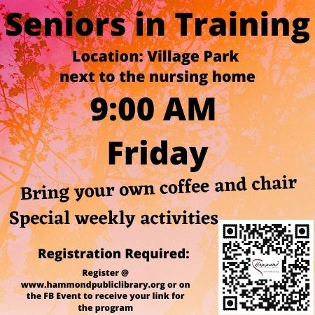 Friday 9:00 AM Seniors in Training.  This fun group likes to enjoy their coffee and this summer we will be introducing various activities for the group to participate in such as chair yoga, simple art projects, and trivia or bingo.  This will be held in person at the Village Park, next to the nursing home.  If the weather is rainy this program will be held virtually.  When you register you will automatically receive a Zoom link for each day's activity.