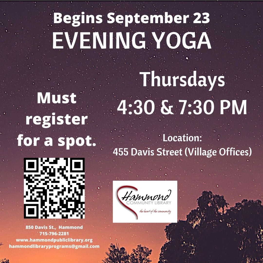 In person yoga opportunities on Thursday evenings at 4:30 & 7:30 PM